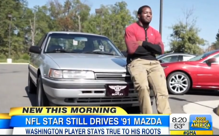 alfred morris with his 1991 Mazda 626