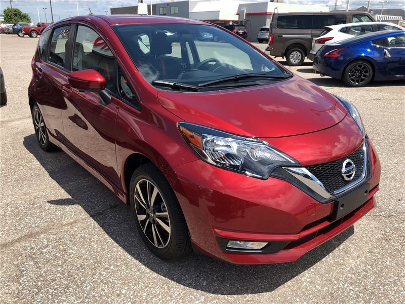 2018 Red Nissan Versa Note Hatchback Parked Cheap Small Car